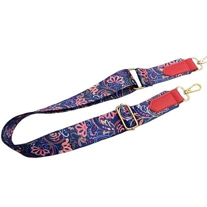 Изображение Ремень для сумки  длинный  (васильковый/цветы)