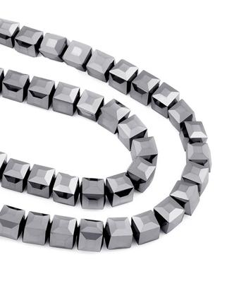 Изображение Бусины  серебро хрусталь 10х10мм