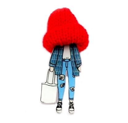 Изображение Брошь Шапочка-модница (Красная)