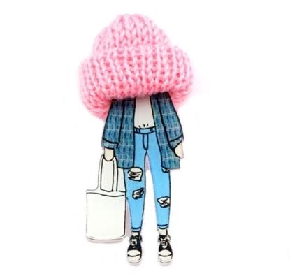Изображение Брошь Шапочка-модница (Розовая)