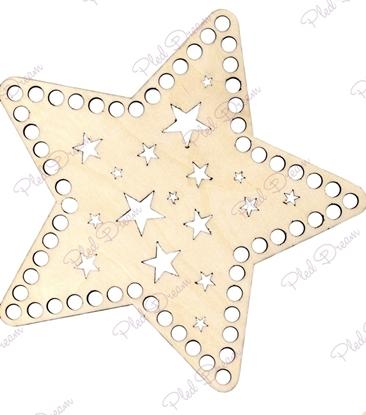 картинка донышко и крышка для вязаной корзины, дно из фанеры для корзины,  дно звезда с узором
