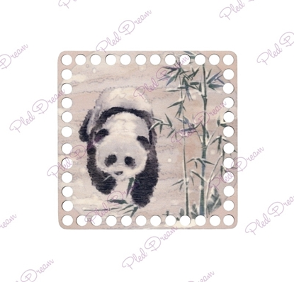 картинка дно для вязаной корзины квадрат с печатным рисунком панда