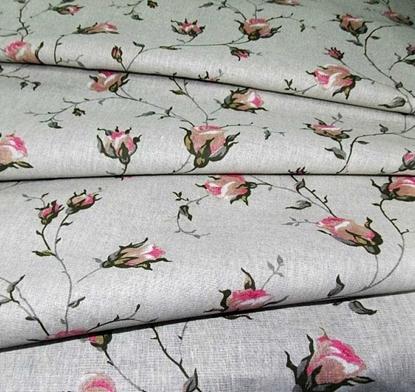 картинка ткань лен 30% хлопок70% цвет:  натуральный с розами