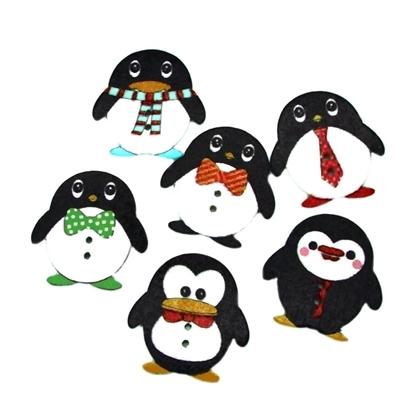 картинка пуговицы деревянные декор для рукоделия пингвин