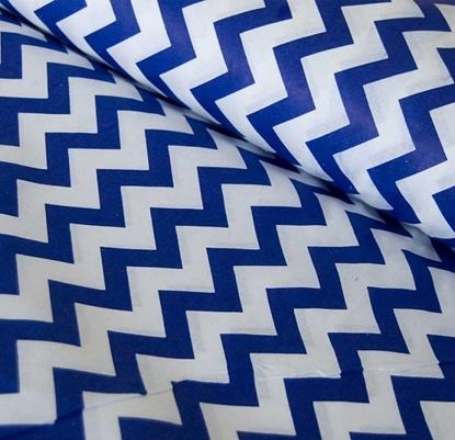 картинка ткань для рукоделия из хлопка принт синий зиг-заг