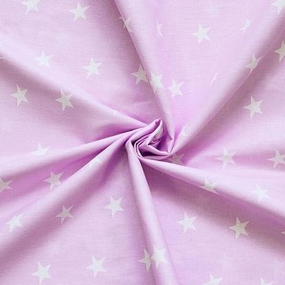 картинка ткань из хлопка  звезды на розовом фоне, детский принт