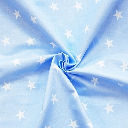 картинка детские ткани из  хлопка, принт: звезды на голубом фоне