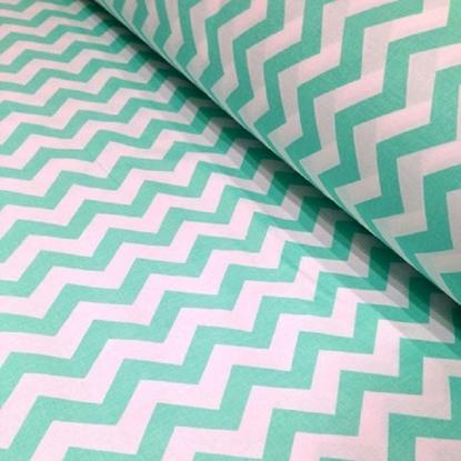 картинка ткани из хлопка, Иваново, принт: зигзаг мята