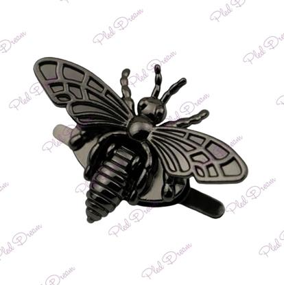 картинка замок для сумки пчелка  в стиле Гуччи, цвет: черный никель