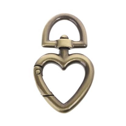 картинка карабин для сумки сердце цвет: бронза, металлофурнитура для сумки