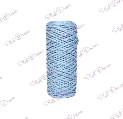 картинка хлопковый шнур цвет: голубой, шнур для макраме 3 мм, купить шнур для рукоделия