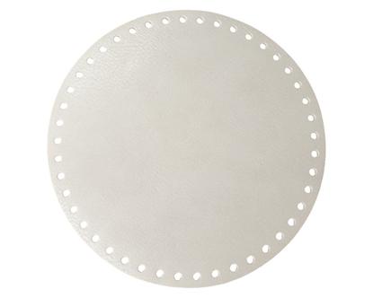картинка круглое  кожаное донышко для сумки в наличии,  диаметр 20см, цвет: перламутр