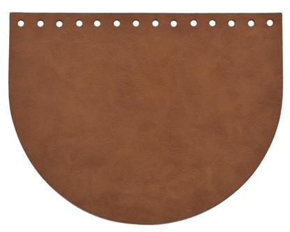 картинка  коричневая крышка клапан для вязаной сумки, купить кожаную фурнитуру для сумки из трикотажной пряжи