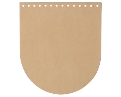 картинка крышка кожаная для вязаного рюкзака , цвет: миндаль, купить крышку-клапан для рюкзака с доставкой