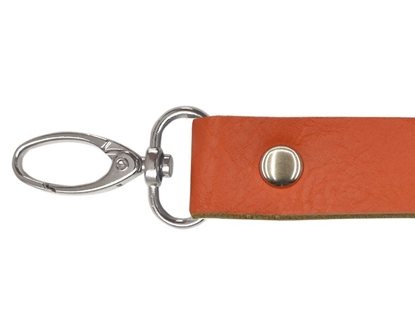 картинка длиные кожаные ручки с карабинами  купить в интернет-магазине, ручки для сумок из трикотажной пряжи