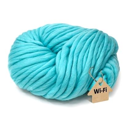 картинка  пряжа для шапки крупной вязки , зимняя шапка из толстой пряжи, цвет: бирюзовый