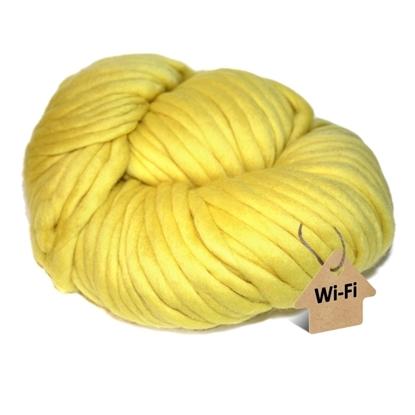 картинка  купить с доставкой, толстая пряжа для шапки и шарфа крупной вязки, цвет: желтый лимон