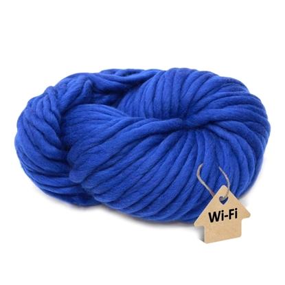 картинка толстая пряжа меринос для вязания шапок и шарфов, купить пряжу WI-FI в Москве с доставкой, цвет: синий электрик