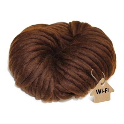 картинка пряжа wi-fi из мериноса для зимней шапки , цвет: коричневый , шоколад