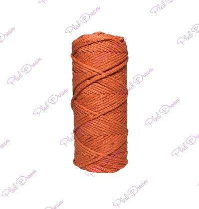 картинка шнуры из хлопка для рукоделия, купить хлопковый шнур для вязания в Москве. цвет: рыжий