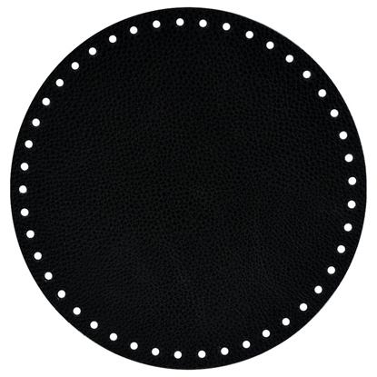 картинка вязаный рюкзак с кожаным дно из трикотажной пряжи, круглое донышко  из экокожи для сумки , цвет: черный