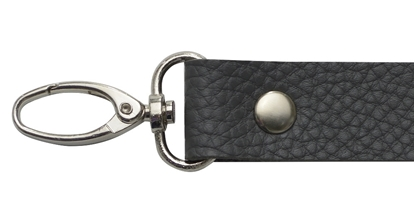 картинка ручка  из экокожи для вязаной сумки и рюкзака, купить длинную ручку для сумки из трикотажной пряжи, цвет: серый
