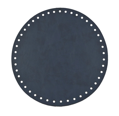 картинка купить с доставкой  круглое дно из экокожи для вязаной сумки  и рюкзака из трикотажной пряжи, цвет: темно-синий