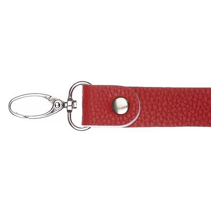 картинка кожаная фурнитура для вязаных сумок купить в Москве с доставкой, ручка длинная с карабинами цвет: красный