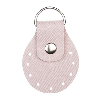 картинка  кожаная фурнитура для вязаных сумок,  пришивные полукольца  Marmelatta , цвет: нежно-розовый , экокожа