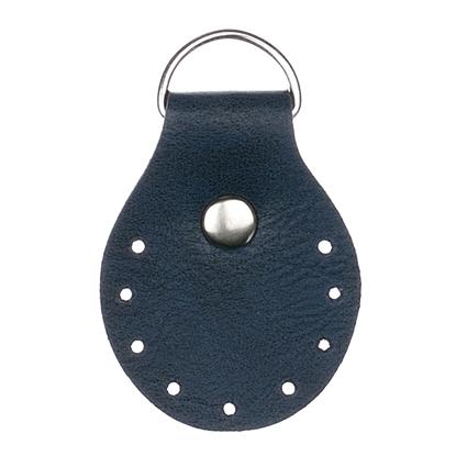 картинка фурнитура из экокожи для вязания сумок из трикотажной пряжи, пришивные полукольца в наличии, цвет: сапфир, темно-синий