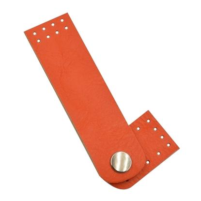 картинка застежка пришивная на кнопке из экокожи для вязаных сумок из шнура, цвет: папайя купить с доставкой по Москве