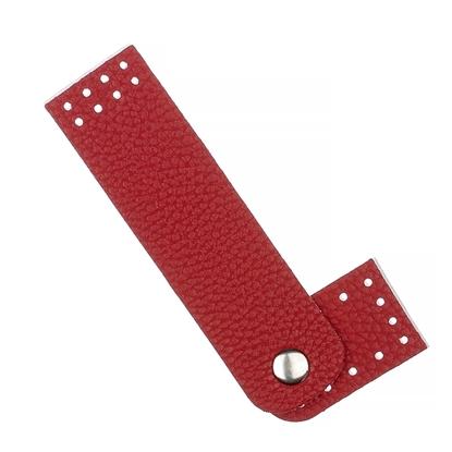 картинка пришивная  кожаная застежка для сумки из трикотажной пряжи в наличии цвет красный по выгодной цене купить в Москве