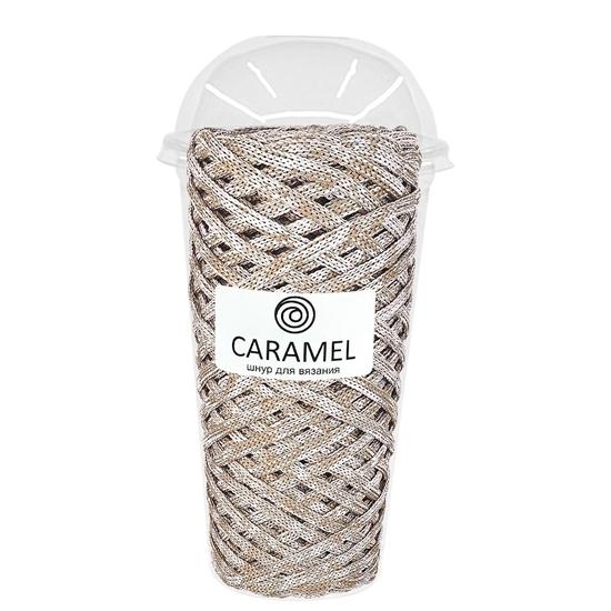 картинка купить полиэфирный шнур 5мм  для вязания сумки и крозины выгодно в интернет-магазине. Шнур Карамель (Caramel) цвет бежевый микс