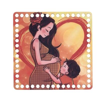 картинка донышко квадрат 20см для вязания корзинки из трикотажной пряжи донышко с цветным рисунком мама материнство дети