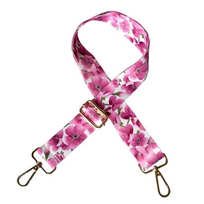 картинка ремень через плечо для сумки с карабинами регулируемый 120см в наличии розовые цветы