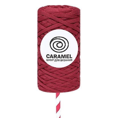 картинка шнур полиэфирный Caramel (Карамель) цвет: гранат в наличии для вязания