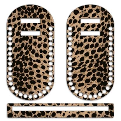 картинка комплект фурнитуры с принтом леопард для летних вязаных сумок из шнура и пряжи заказать