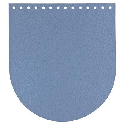 картинка кожаная крышка-клапан овальная для вязаного рюкзака из пряжи и  шнура, в наличии по низкой цене, цвет: синий, джинс