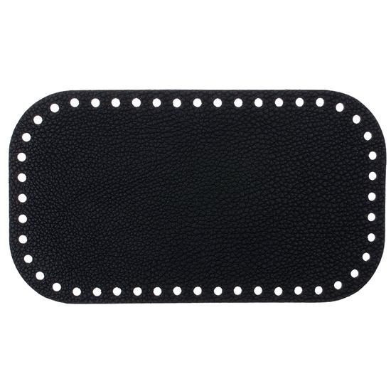 картинка донышко кожаное черное 12х21см Marmelatta для вязания сумочки крючком из пряжи
