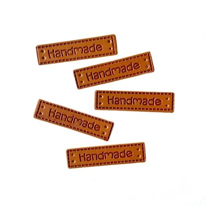 картинка бирки Handmade кожзам пришивные в наличии для рукоделия