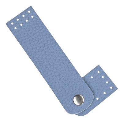 картинка кожаная фурнитура Marmelatta застежка -кнопка для сумок из пряжи и шнура , цвет: джинс, голубой