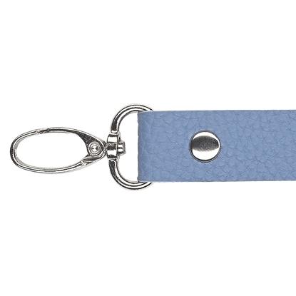 картинка длинные кожанные ремешки 120см для вязаных сумок через плечо , в наличии недорого, цвет: джинс, светло-синий