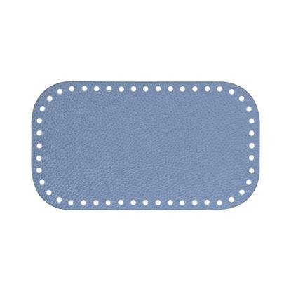 картинка донышко из экокожи для вязания сумочек крючком, цвет: джинс, размер: 12х21см