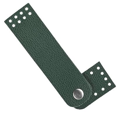 картинка фурнитура из экокожи кнопка-застежка пришивная для вязаной сумки цвет: авкокадо, темно-зеленый