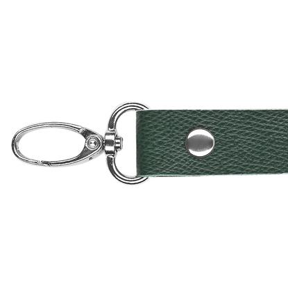 картинка ручка длинная с карабинами из экокожи для вязаных сумок , цвет: зеленый авокадо, купить  в Москве