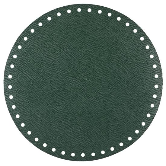 картинка круглое дно для вязаной сумки -торбы из экокожи диаметр 20см, цвет: авокадо, темно-зеленый