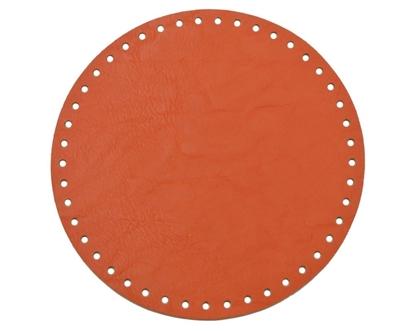 картинка круглое донышко (экокожа) для вязаной сумки и рюкзака из трикотажной пряжи, 20см, цвет: папайя, ярко-рыжий