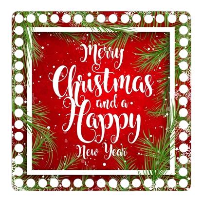 картинка донышко -крышка квадрат  для новогодней корзинки из трикотажной пряжи, Merry Christmas с принтом