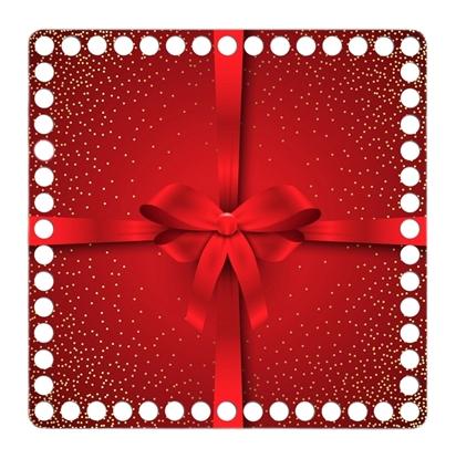 картинка дно для подарочной корзины, дно квадрат 20см с ярким новогодним принтом, красный с бантом