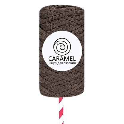 картинка полиэфирный шнур плоский 5 мм Карамель (Caramel) цвет: шоколад в наличии
